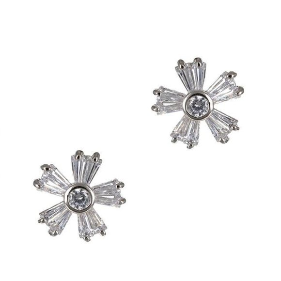 Kenneth Jay Lane Round & Baguette Floral Earrings